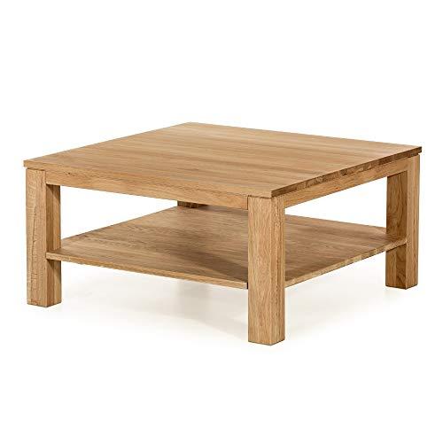 Marque Amazon - Alkove - Hayes - Table basse en bois massif avec étagère, carrée, Chêne sauvage