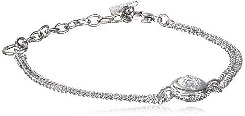 Guess Damen-Armband Herz Messing Glas weiß 19.0 cm - UBB21530-S