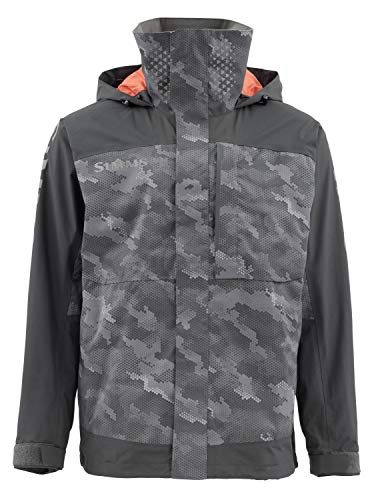 Simms Challenger Waterproof Fishing Jacket – Breathable Rain Coat – Sport Angler Windbreaker - Adjustable Hood & Fleece Lined Multi Pocket – Water Resistant Zippers, Hex Camo Carbon, Large