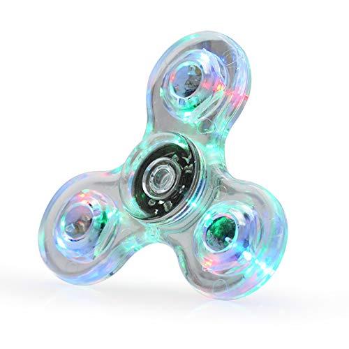 LED Fidget Spinner, Clear Fidget Toy, Crystal Led Light Rainbow Toy Finger Hand Spinner-Kids