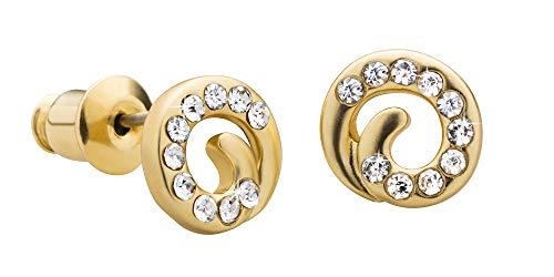 Perlkönig | Damen Frauen | Ohrringe Set | Ear Cuffs | Silber Farben | Kreis geschwungen| Glitzer Steine | Stecker | Nickelabgabefrei