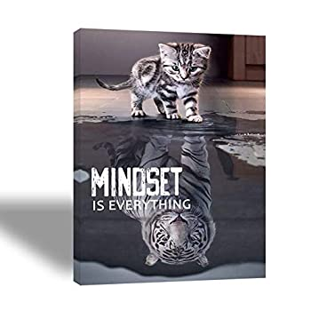 Motivational Canvas Wall Art with cat and tiger Picture- framed large wall Posters-Inspirational Quotes -Mindset is everything 16 x24  Discipline poster for home office Classroom gym success signs
