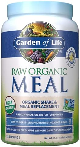 Garden of Life Meal Replacement Vanilla Powder, 28 Servings, Organic Raw Plant Based Protein Powder, Vegan, Gluten-Free *Packaging May Vary
