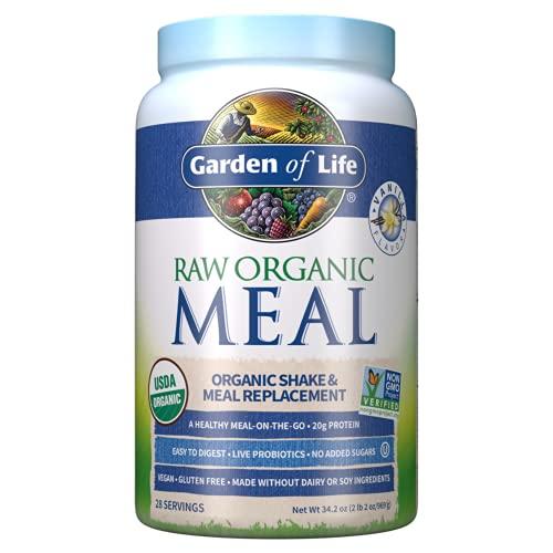 Garden of Life Meal Replacement Vanilla Powder, 28 Servings, Organic Raw Plant Based Protein Powder, Vegan, Gluten-Free *Packaging...