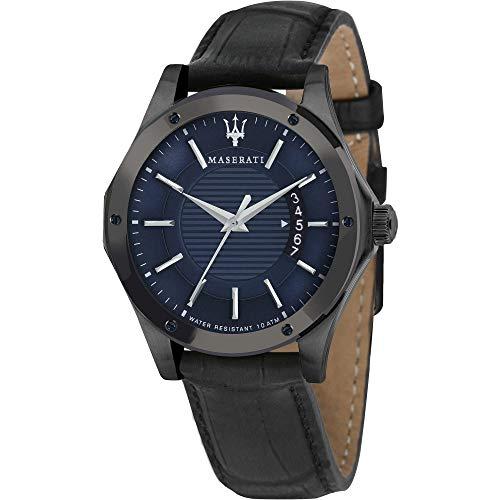 Orologio da uomo, Collezione CIRCUITO, in acciaio, PVD nero, cuoio -...