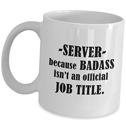 Cukudy Server serveerster ober koffiemok Gift Keramische Theekop Plezier Job Pride Gifts Restaurant Voedsel Bestel Taker Appreciation Grappige Leuke Gag voor Mannen Vrouwen Omdat Badass is een officiële functie Titel