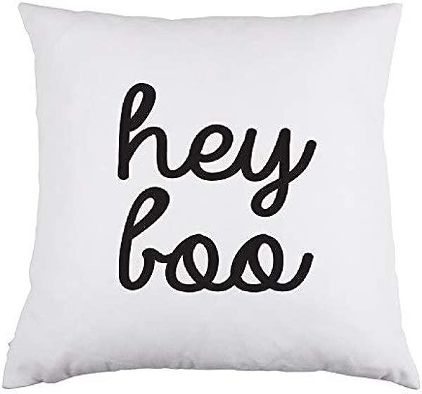 Arthuryerkes Hey Boo White Throw Pillow Cushion Cover 18x18 Inch Pillow Case