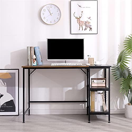 Poazmron Escritorio para videojuegos, escritorio para ordenador con estantes de almacenamiento, mesa moderna de estilo industrial con tablero extraíble, madera y metal, color madera (120 x 60 x 75 cm)