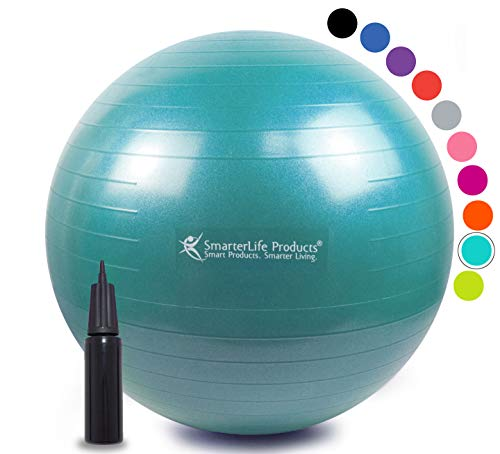 Exercise Ball for Yoga, Balance, Stability from SmarterLife - Fitness, Pilates, Birthing, Therapy, Office Ball Chair, Classroom Flexible Seating - Anti Burst, No Slip, Workout Guide (Turquoise, 75 cm)