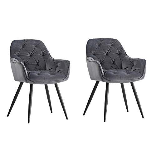 2er Set Grau Esszimmerstuhl aus Stoff (Samt) Wohnzimmerstuhl grau Retro Design Armlehnstuhl Stuhl mit Rückenlehne Sessel Metallbeine Schwarz (Grau, 2)