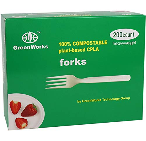 GreenWorks 100% Compostable CPLA Forks, 200 Count Disposable Large Heavyweight Biodegradable Bio-based Plastic Cutlery Flatware Forks