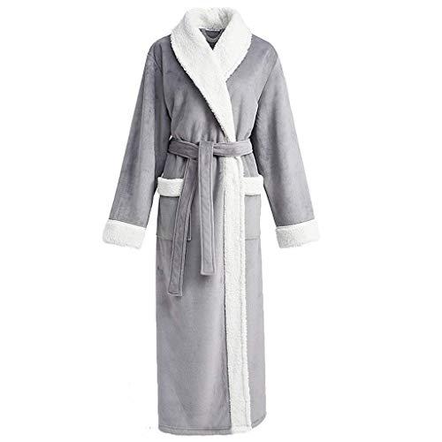 Huixin Dames Peignoir Flanelle Robe De Haute Chambre Occasion De Densité Robe De Ménage Col Et Sacs pour Les Femmes Cadeau (Couleur Homme Vert Armée 180Cm) (Color : Women-Gray, Size : M)