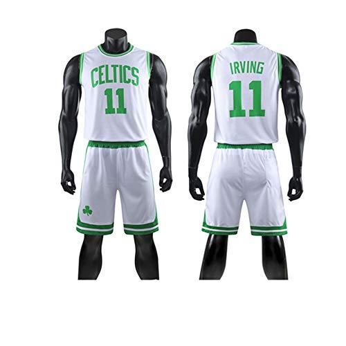 Niños Niños Niñas Camiseta De Baloncesto, NBA Boston Celtics # 11 Kyrie Irving Jerseys Camiseta De Verano Chaleco Deportivo Trajes Kits Top + Short 1 Juego (3XS-5XL),Blanco,L(Adult)160~165CM