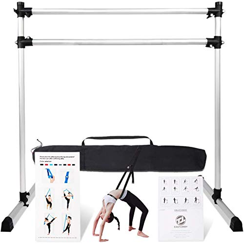 Lovinouse Upgraded 4 FT Portable Ballet Barre, Adjustable Freestanding Ballet Dance Bar for Home and Gym, Dancing Stretching Bar with Leg Stretching Band and Carry Bag (Sliver)