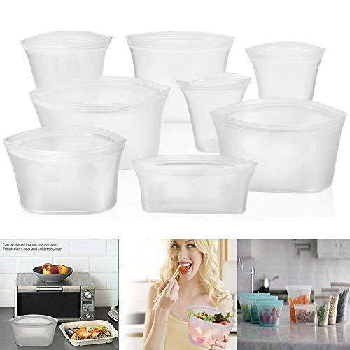 XSH Juego de 8 Bolsas de Silicona para Almacenamiento de Alimentos, recipientes de Alimentos a Prueba de Fugas con Cremallera Reutilizable sin plástico de pie (Blanco)