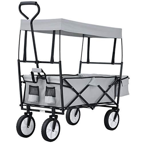 Juskys Bollerwagen faltbar mit Dach und Tasche   Gummiräder   Stoff schmutzabweisend   Handwagen bis 80 kg belastbar   grau