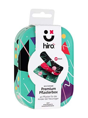 Hiro-aid 40x Premium-Pflaster 90's Vintage im Set in hochwertiger Vorratsbox – soft, atmungsaktiv, wasserabweisend