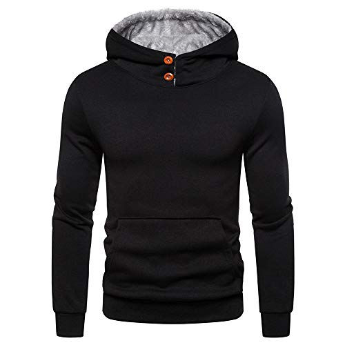 ZZOU Men's Thick Warm Fleece Jacket Coat Hooded Pullover Sweatshirt Top Hoodie Gym Running Fitness Long Sleeve Pockets Casual Hoody Jersey Hoods Baseball T-Shirt Polo Shirts Sports Clothing