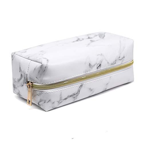ZqiroLt Trousse de Maquillage, Grain de marbre, Pochette de Rangement pour Produits de Toilette en Similicuir avec Fermeture éclair Light Golden