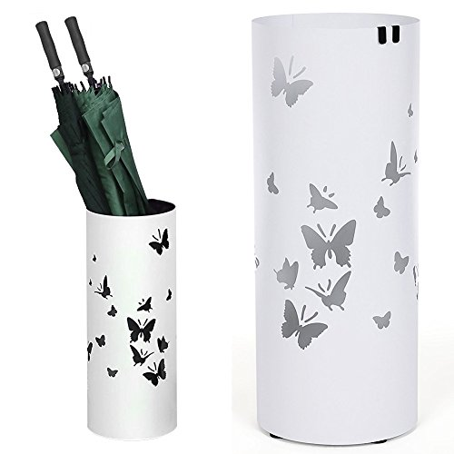 BAKAJI Portaombrelli Stand in Ferro Design Forma Rotonda Colore Bianco conVaschetta Salvagoccia e Ganci per OmbrelliDimensioni 49 x 19,5 cm