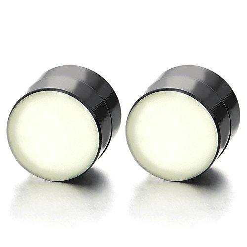 Magnética Círculo Negro Noctilucentes Luminosa, Click-on Fake Piercing, Enchufe Fake Plug, Pendientes de Hombre Mujer