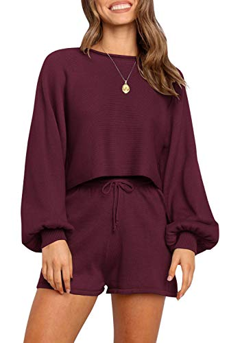 ZESICA Women's Casual Long Sleeve Solid Color Knit Pullover Sweatsuit 2 Piece Short Sweater Outfits Sets Wine
