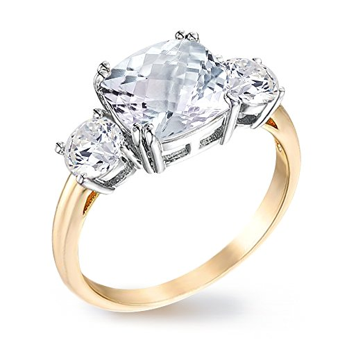 Samie Collection 3.67ctw Cushion AAA CZ 3 Stone Meghan's Engagement Ring for Women Inspired by Princess Royal Wedding Promise Ring Band in 18K Gold Plating, Size 5-10
