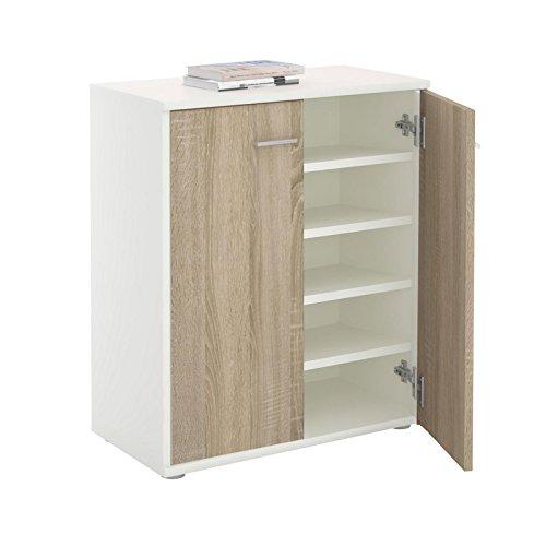 CARO-Möbel Schuhschrank LENNIS Schuhregal Schuhkommode mit 2 Türen und inklusive 4 Einlegeböden, in weiß/Sonoma Eiche