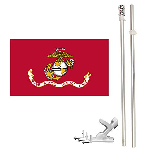 FFN 6ft Flagpole, Tangle Free Spinning Aluminum Telescopic Flag Pole and Mount for 3x5ft or 2x3ft Flags, Includes a 3x5 Foot Marines USMC Flag (6' Silver)