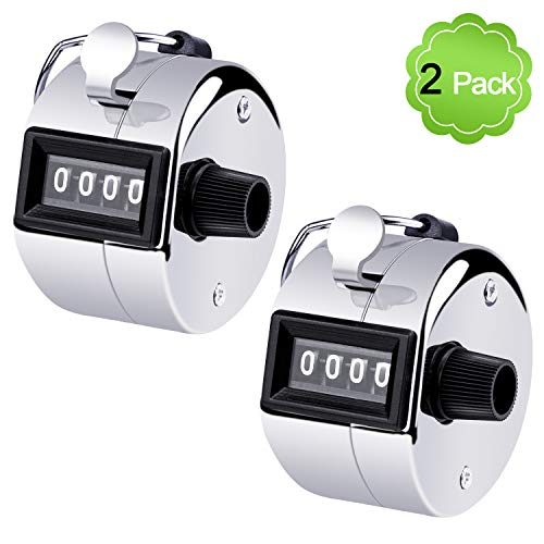 MENOLY 2 Pack Hand Tally Counter, Tally Counter Handheld 4 Digit Display Metal Manual Mechanical CounterClicker with Finger Ring for Sport Stadium Coach Referees School Event-Silver