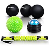 Cohotek Massage Balls Roller Set 5PCS, 1Spiky Ball, 1Lacrosse Ball, 1Peanut Ball, 1Muscle Roller Stick, 1Manual Massage Ball, Mobility Balls for Trigger Point Relief and Plantar Fasciitis Therapy