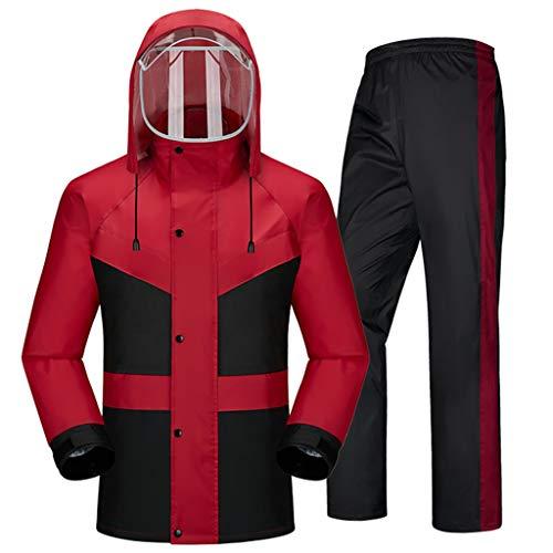 Ropa impermeable- Traje De Lluvia Para Hombres Ropa Impermeable (Chaqueta Para La Lluvia Y Pantalones De Lluvia Ajustados) Adultos Trabajo En El Exterior Moto Golf Pesca ( Color : Red , Size : XL )