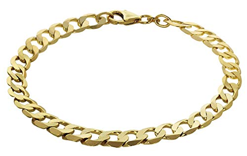 trendor Armband 333 Gold Panzerkette Breite 7 mm Damen und Herren Armband, modische Geschenkidee, Armband Echtgold, Gold Armschmuck, Goldarmband 35661-19 19 cm