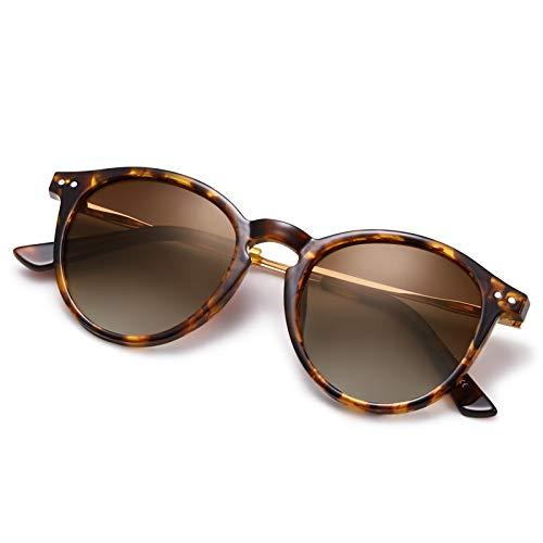 AVAWAY Occhiali da sole donna polarizzati retrò Occhiali da sole rotondi UV400 con montatura leggera