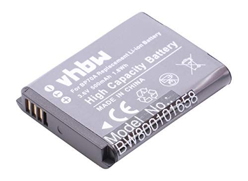 vhbw Batería reemplaza Samsung BP-70a, EA-BP70A, SLB-70A para cámara Digital, DSLR (500mAh, 3,6V, Li-Ion)