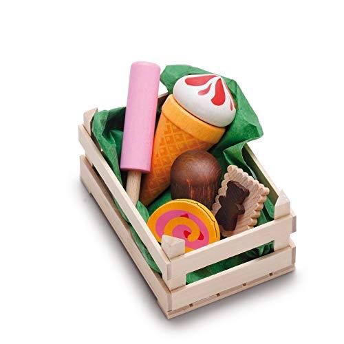 Erzi 28235 Sortiment Süßwaren, klein aus Holz, Kaufladenartikel für Kinder, Rollenspiele