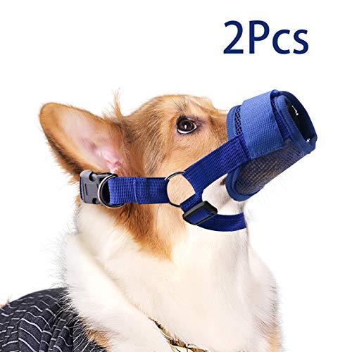 QiCheng&LYS Haustier Hund-Sitzbezüge mit atmungsaktivem Nylon Mesh intimklopfer Anti-Biting bellenden Hunde-Maske, verstellbar, 5 Farben erhältlich (XL, Blau)