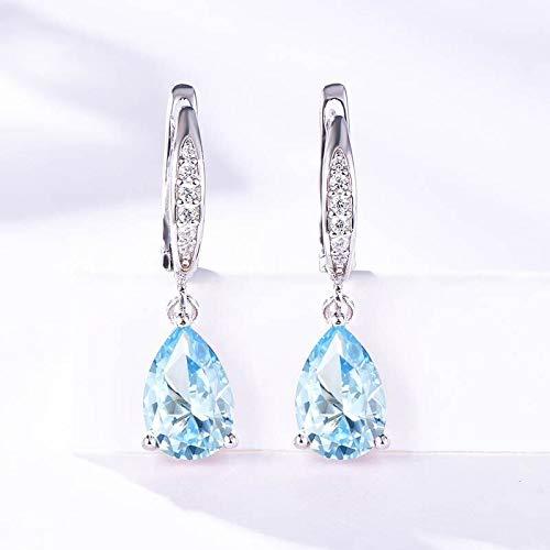 PPuujia Pendientes de plata de ley 925 para mujer, pendientes de clip con piedras preciosas creadas que cambian de color, joyería alta (color de la gema: aguamarina)