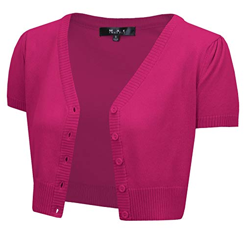 YEMAK Women's Cropped Bolero Cardigan – Short Sleeve V-Neck Basic Classic Casual Button Down Knit Soft Sweater Knitted Top HB2137-MAG-S Magenta