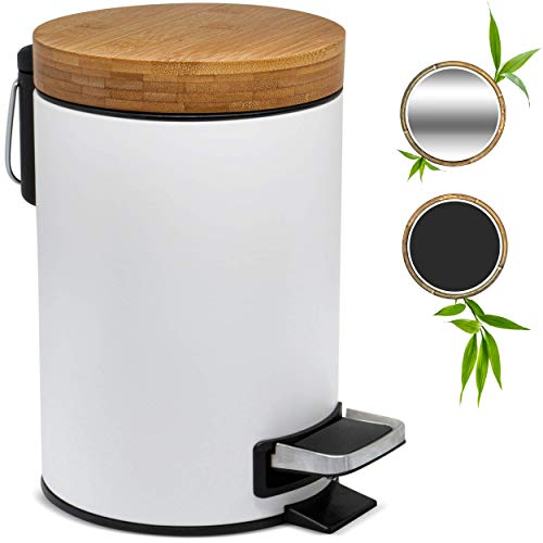 Kazai.® 3l Design Kosmetikeimer | Bambus-Holzdeckel mit Absenkautomatik | Treteimer mit Anti-Fingerabdruck und Komfort-Pedale | Weiß
