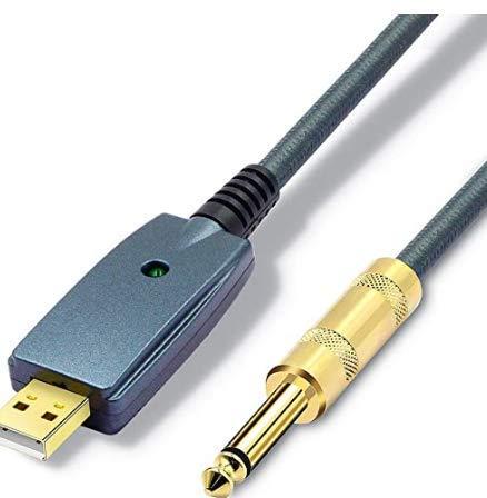 SiYear Cable USB para guitarra – Interfaz USB macho a 6,35 mm 1/4' TS Mono Cable convertidor de guitarra eléctrica adaptador de cable para instrumentos de grabación de canto, etc. (azul gris-3M)