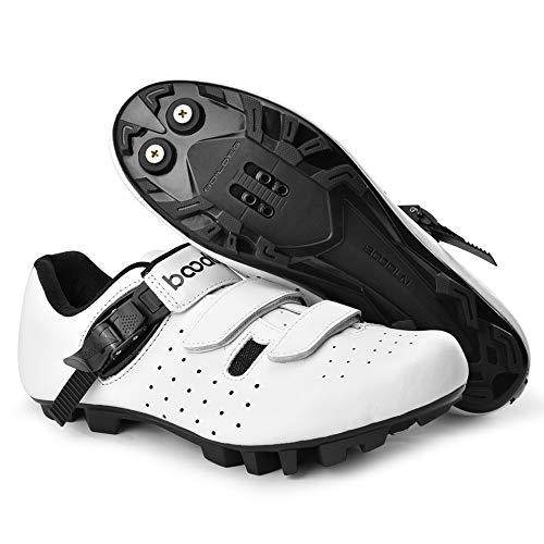 KUXUAN Calzado De Ciclismo MTB para Hombre Profesional MTB De Carreras Calzado De Bicicleta para Deportes Al Aire Libre con Autobloqueo,White-37EU