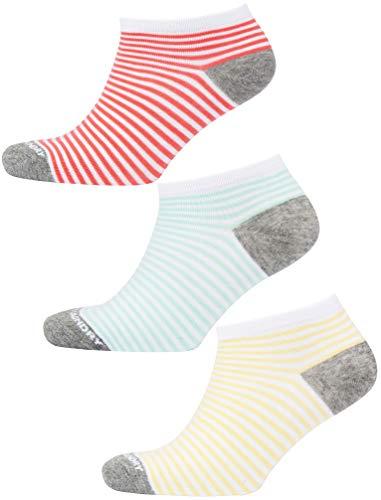 Tokyo La&ry Damen Sneaker-Socken, 3 Stück Gr. One size, Koralle / Mint / Gelb
