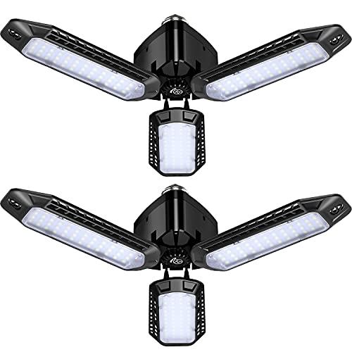 2-Pack LED Garage Light,JZCreater 60W Garage Lighting - 5000LM 6500K Deformable LED Garage Ceiling Lights, LED Shop Light with tri Ultra Bright Adjustable Panels, LED Lights for Garage, Workshop