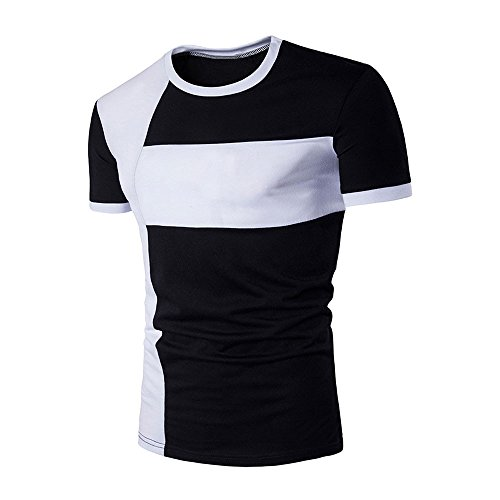 Review EOWEO Men's Short T-shirt New Men's Tops Shirt Slim Fit Short Sleeve Casual T-Shirt(X-Large,B...