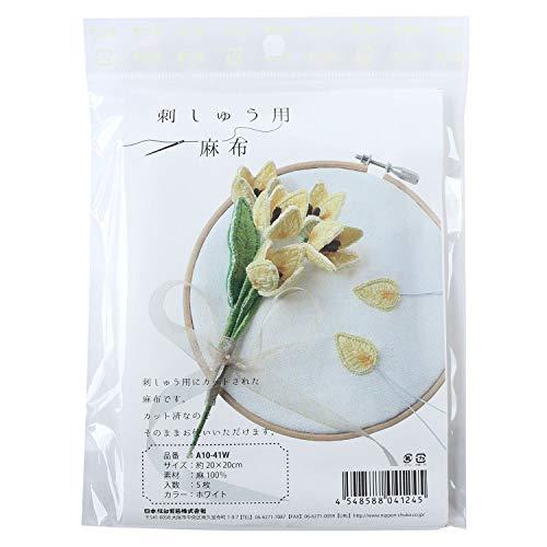 日本紐釦貿易 NBK 刺しゅう用麻布 約20cm×20cm 5枚 白 A10-41