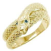 スネーク リング ピンキーリング 指輪 イエローゴールドk18 4月誕生石 ブルーダイヤモンド メンズ レディース ハンドメイド 18k 18金 4
