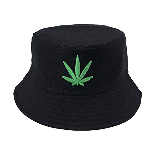 Sombrero de Cubo Plegable Bordado Unisex Sombrero de Playa para el Sol Sombrero de Calle Sombrero de Pescador al Aire Libre Sombrero de Hombre y Mujer-4-Maple-Black