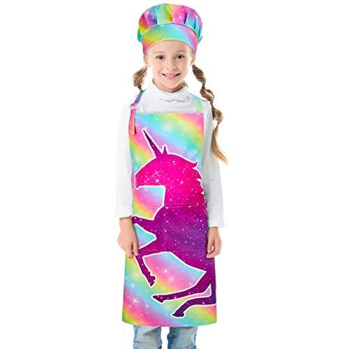 Beinou Kinder Schürze Kochmütze Verstellbare Kinderschürzen Set Einhorn Hai mit 2 Taschen für Jungen Mädchen Geschenk Malerei Kochen Backen Küche