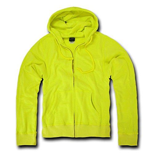 DECKY Neon Basic Zip Up Hoodies, Yellow, XX-Large